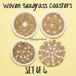Bloomingville Woven Seagrass Coasters - Set of 4